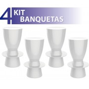 KIT 4 BANQUETAS TIN COLOR BRANCO
