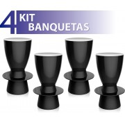KIT 4 BANQUETAS TIN COLOR PRETO
