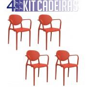KIT 4 CADEIRAS SLICK COM BRAÇO VERMELHO
