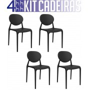 Kit 4 Cadeiras Slick preto