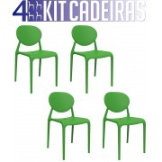 Kit 4 Cadeiras Slick verde