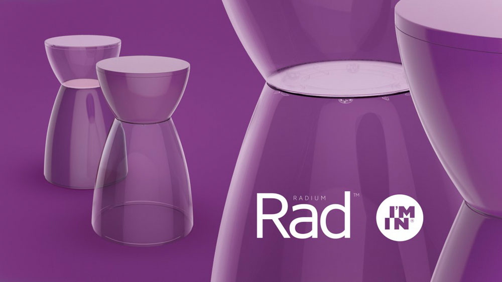BANQUETA RAD ASSENTO CRISTAL BASE COLOR ROXA