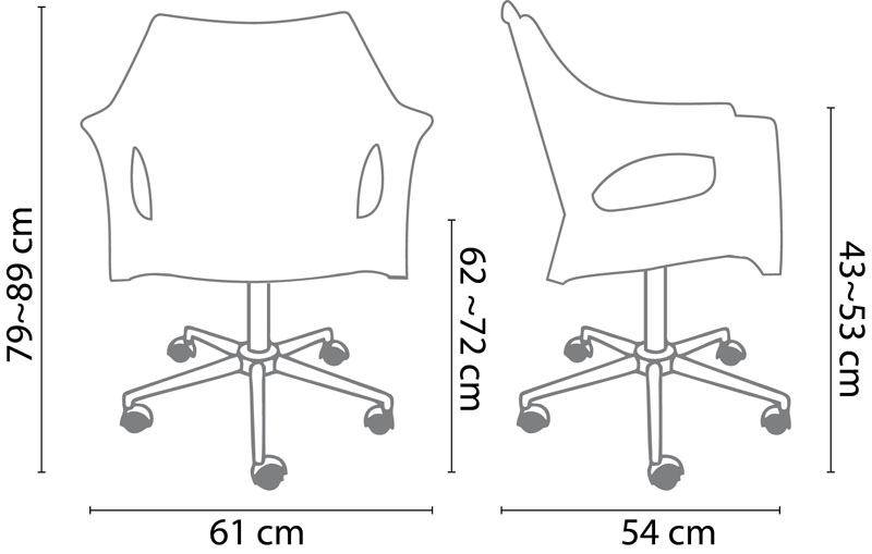 Cadeira RELIC OFFICE  (rodízio  branco)  KONKRET