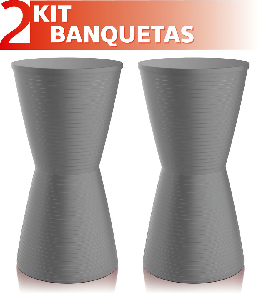 KIT 2 BANQUETAS DUB COLOR CINZA