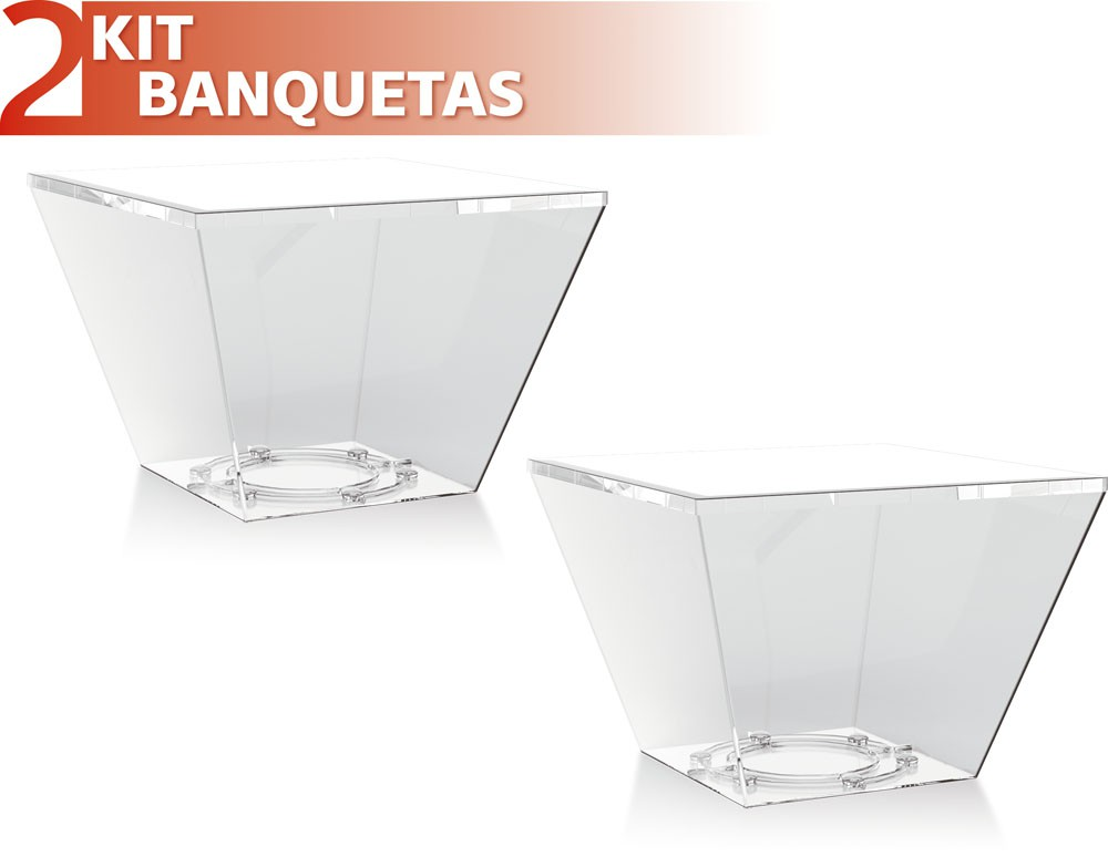 Kit 2 Bancos Neo colorida cristal