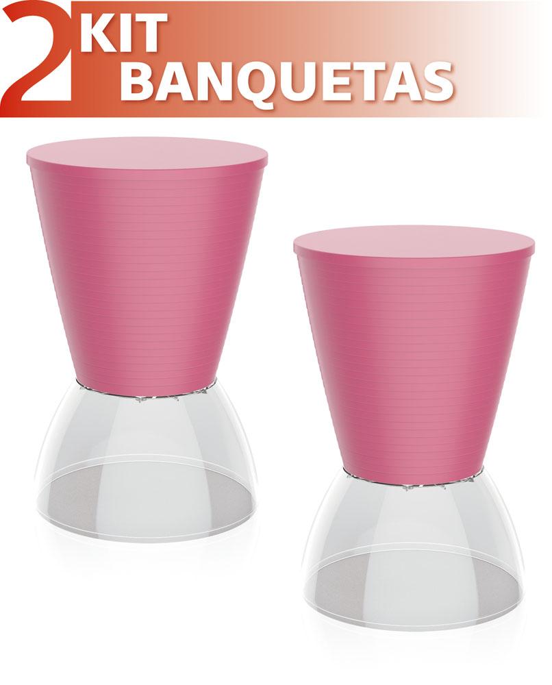 KIT 2 BANQUETAS NICK ASSENTO COLOR BASE CRISTAL ROSA