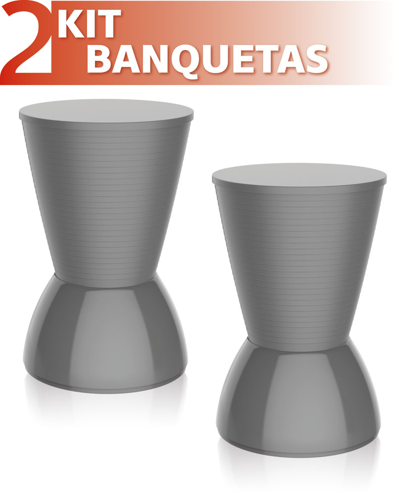 KIT 2 BANQUETAS NICK COLOR CINZA