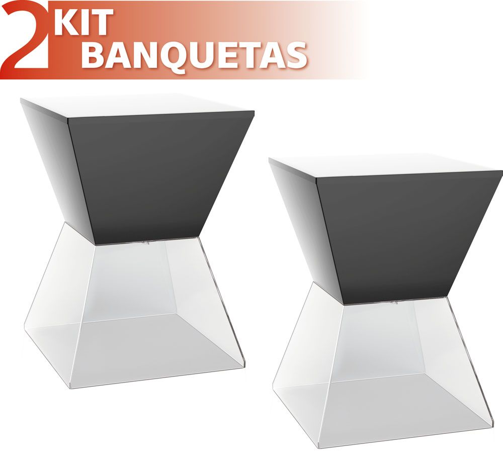 KIT 2 BANQUETAS NITRO ASSENTO COLOR BASE CRISTAL PRETO