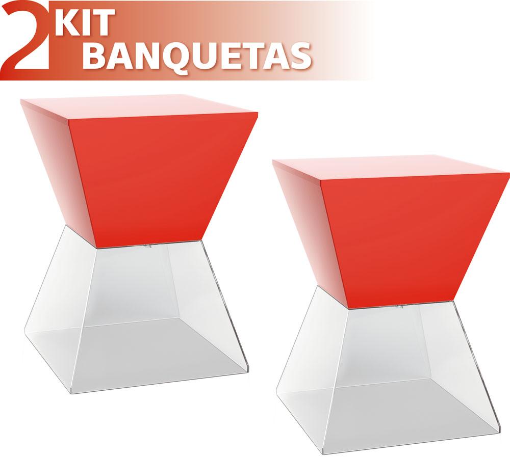 KIT 2 BANQUETAS NITRO ASSENTO COLOR BASE CRISTAL VERMELHO