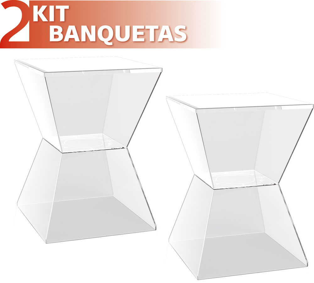 KIT 2 BANQUETAS NITRO ASSENTO CRISTAL BASE COLOR CRISTAL