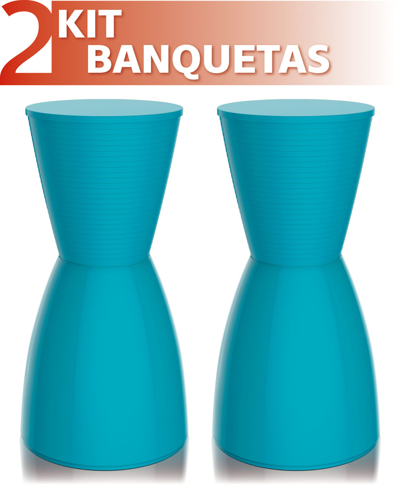 KIT 2 BANQUETAS NOBE COLOR AZUL
