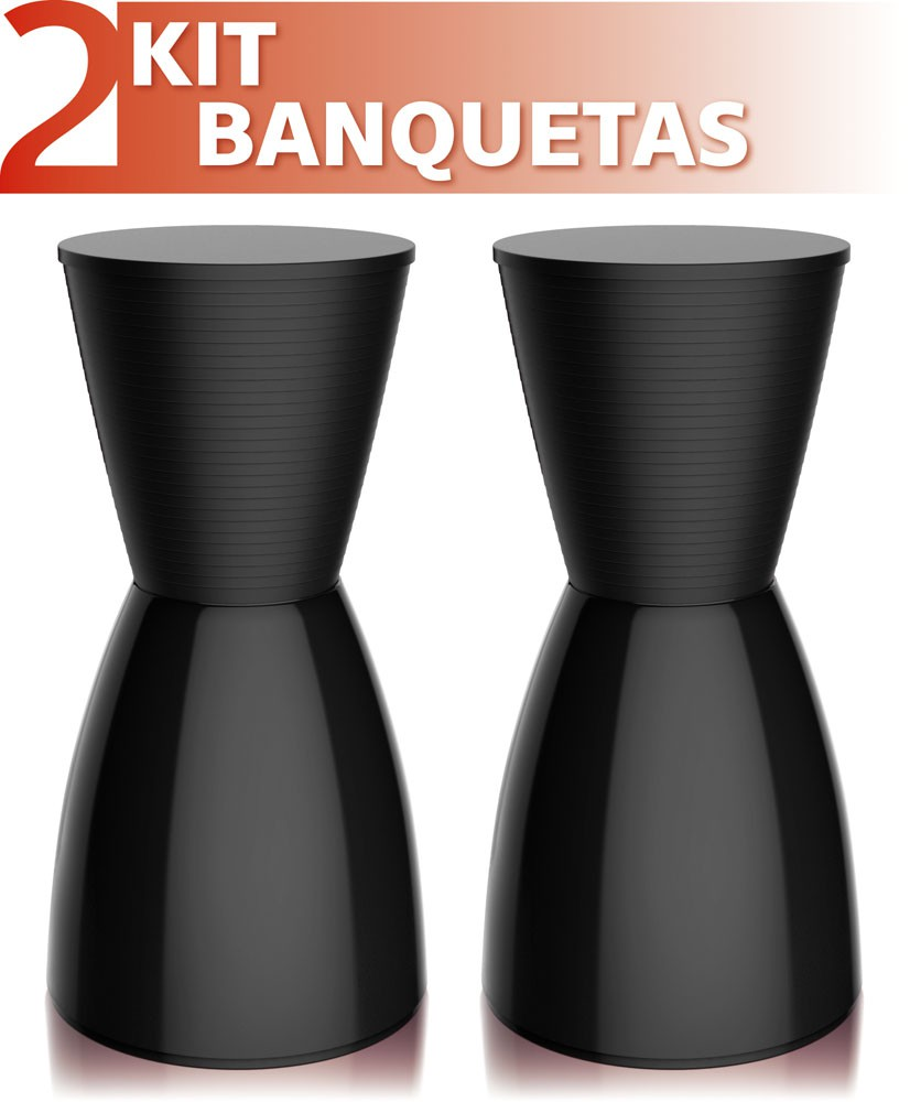 Kit 2 Bancos Nobe colorida preto