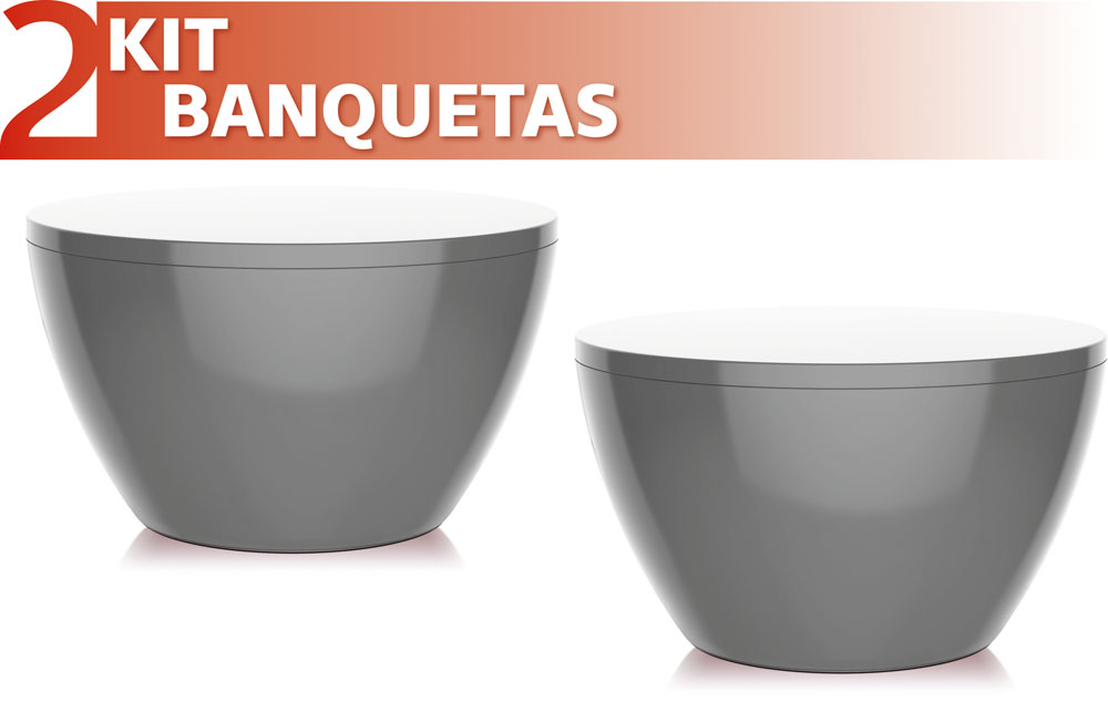 KIT 2 BANQUETAS OXY COLOR CINZA