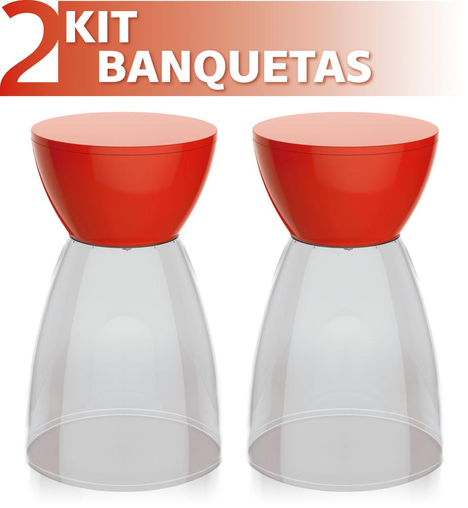 KIT 2 BANQUETAS RAD ASSENTO CRISTAL BASE COLOR VERMELHO
