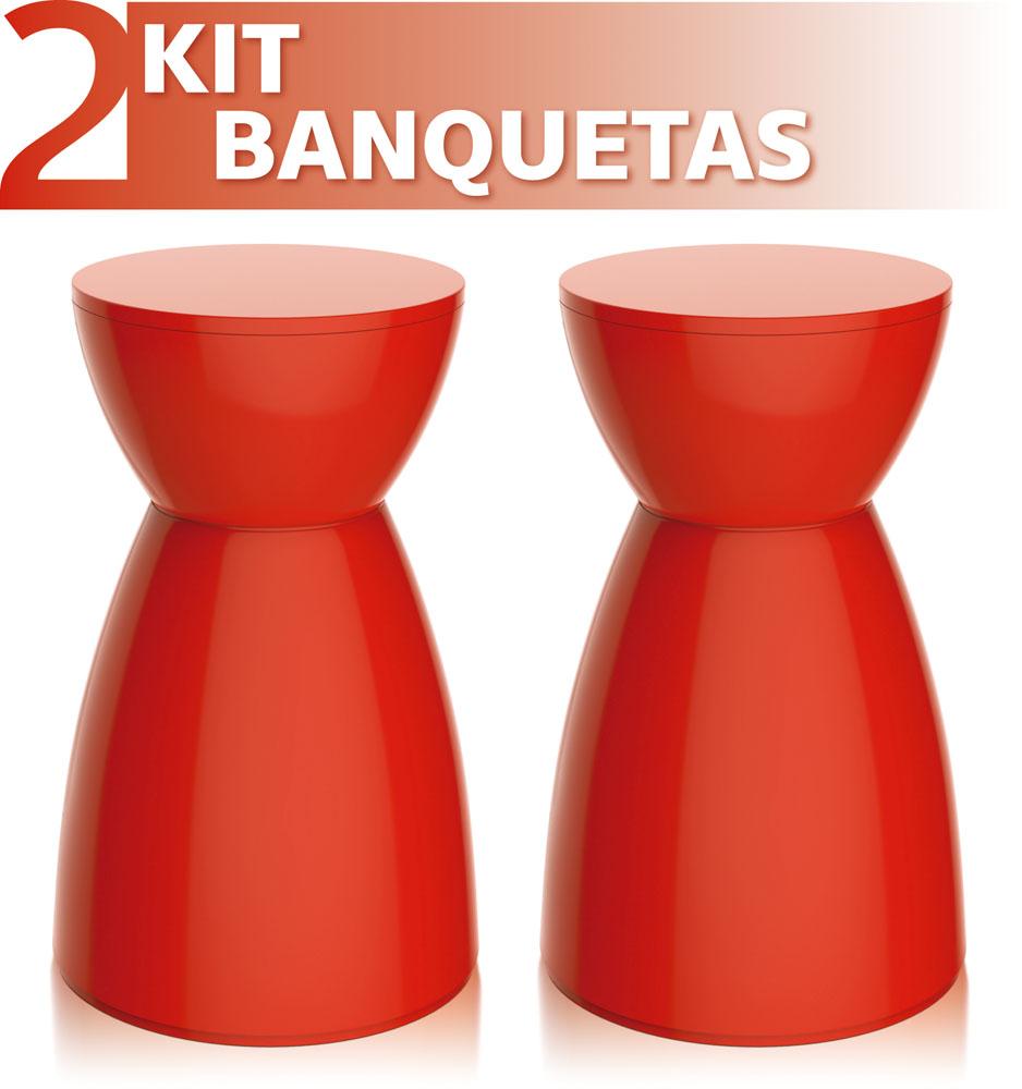 KIT 2 BANQUETAS RAD COLOR VERMELHO