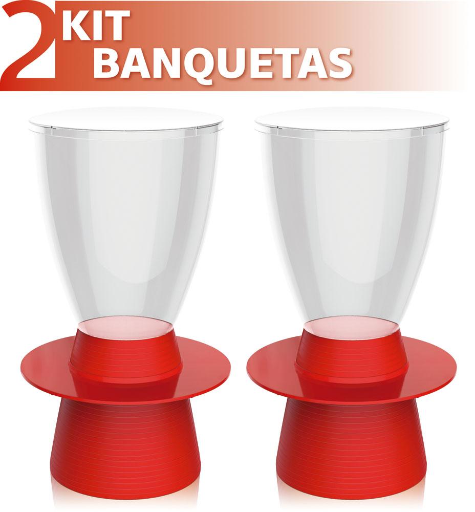 KIT 2 BANQUETAS TIN ASSENTO CRISTAL BASE COLOR VERMELHO