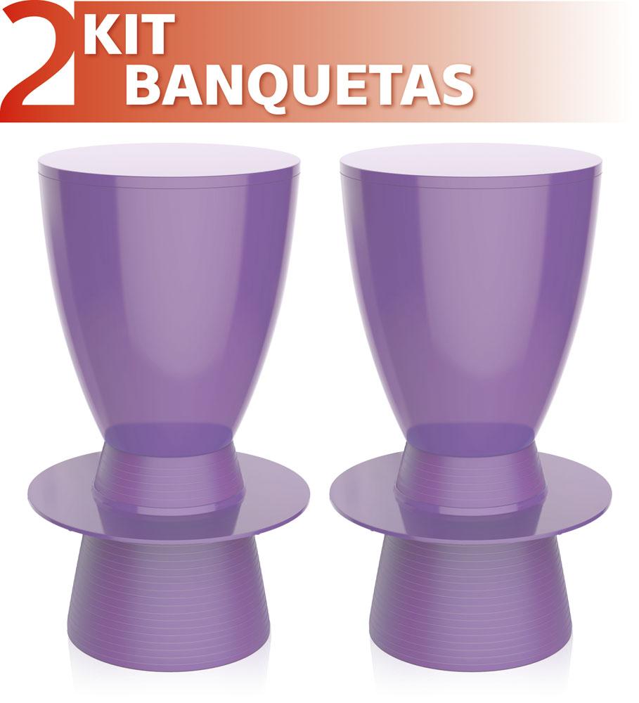 KIT 4 BANQUETAS BERY ASSENTO CRISTAL BASE COLOR CINZA