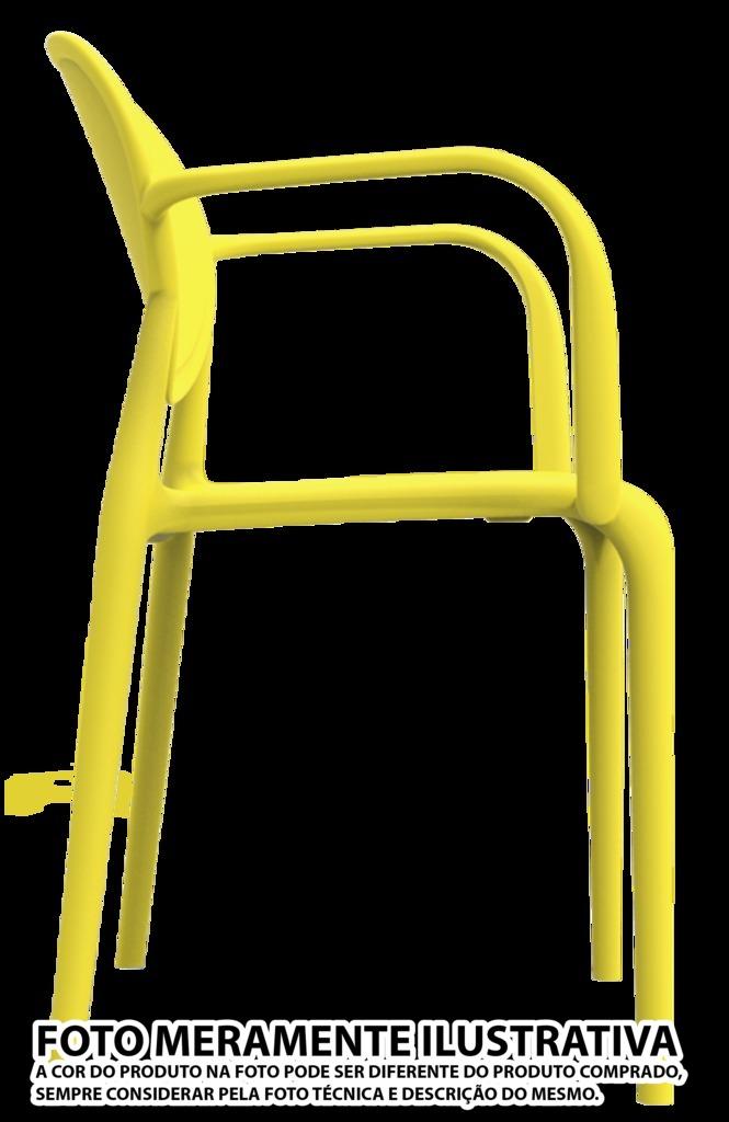 Kit 2 Cadeiras Slick com braço amarelo