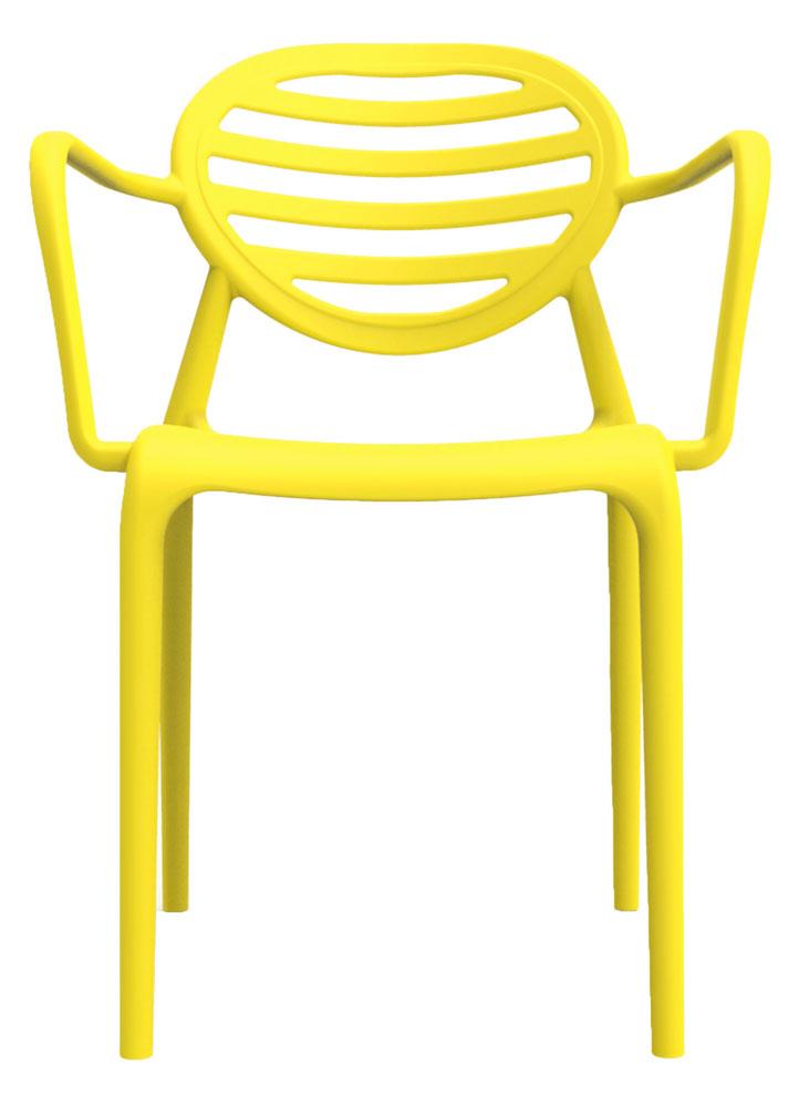 Kit 2 Cadeiras Stripe com braço amarelo