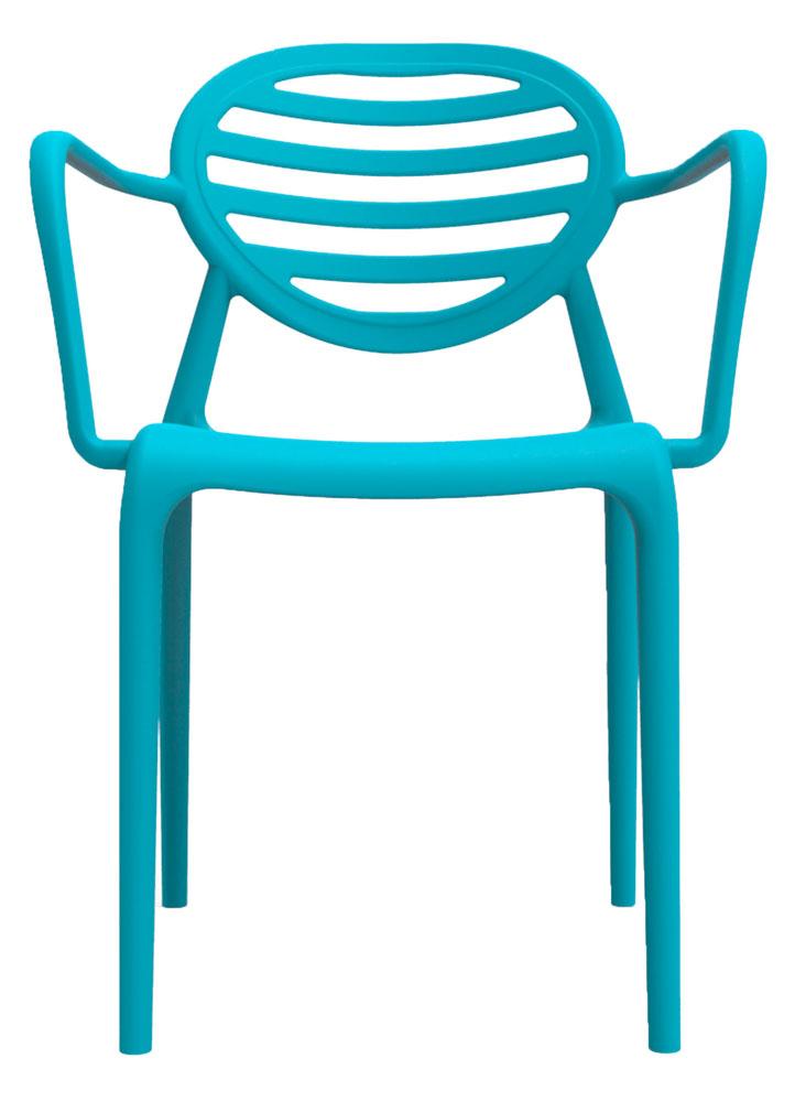Kit 2 Cadeiras Stripe com braço azul