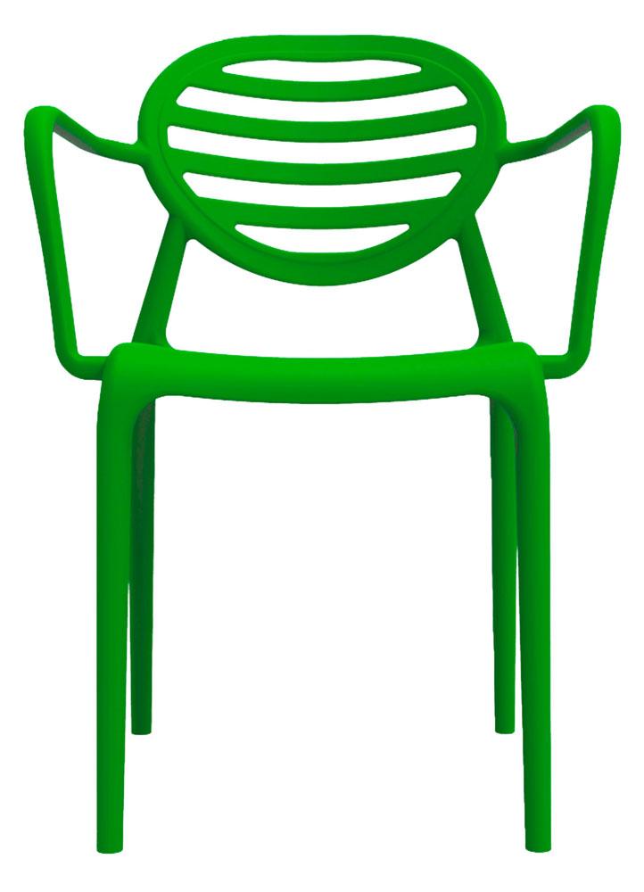 Kit 2 Cadeiras Stripe com braço verde