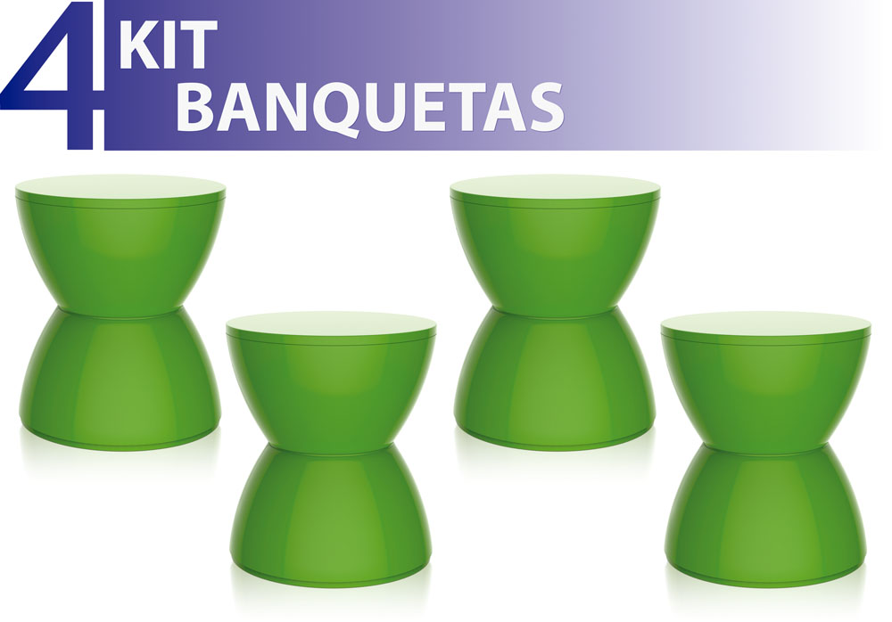 KIT 4 BANQUETAS HYDRO COLOR VERDE