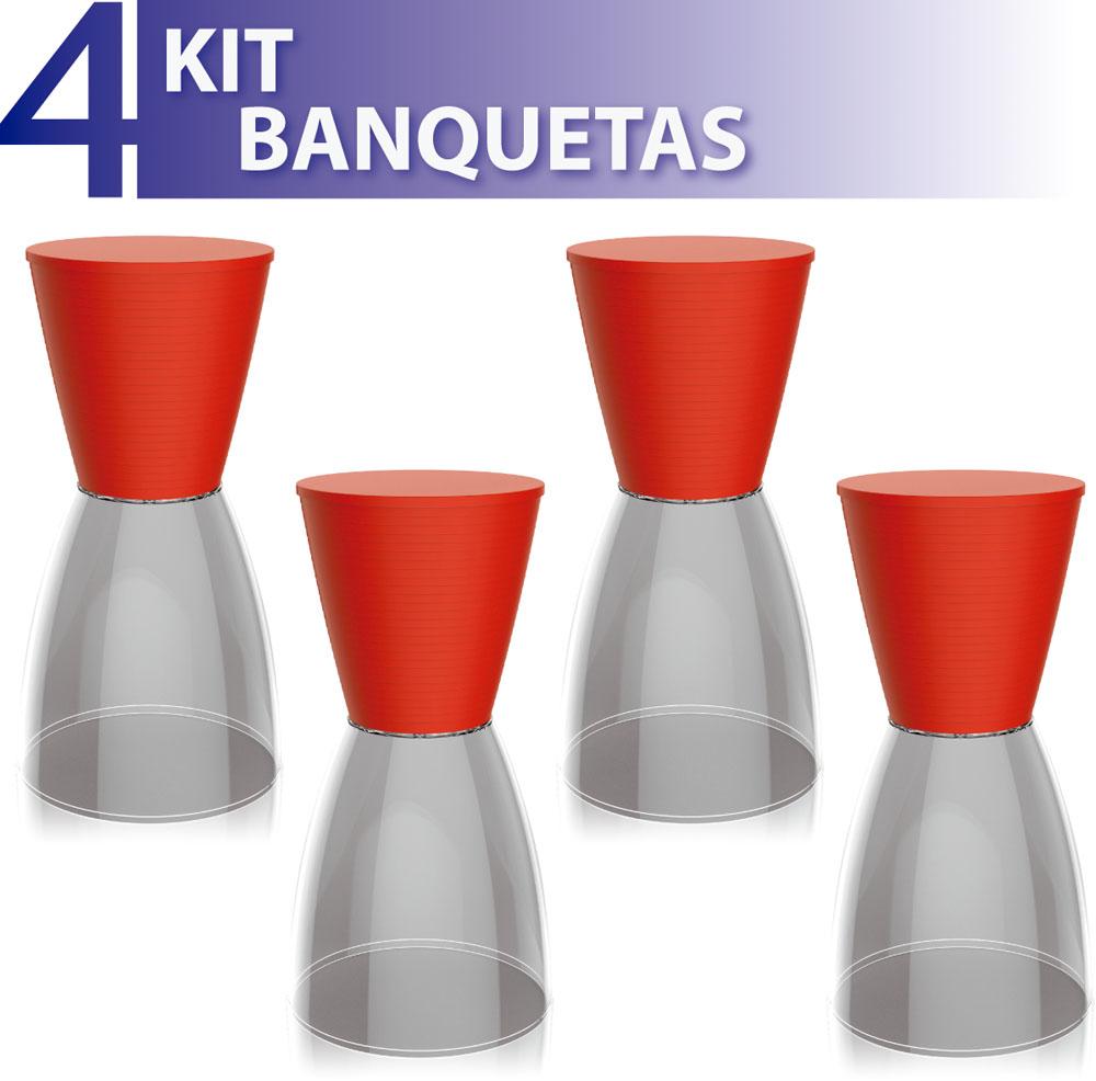 KIT 4 BANQUETAS NOBE ASSENTO COLOR BASE CRISTAL VERMELHO