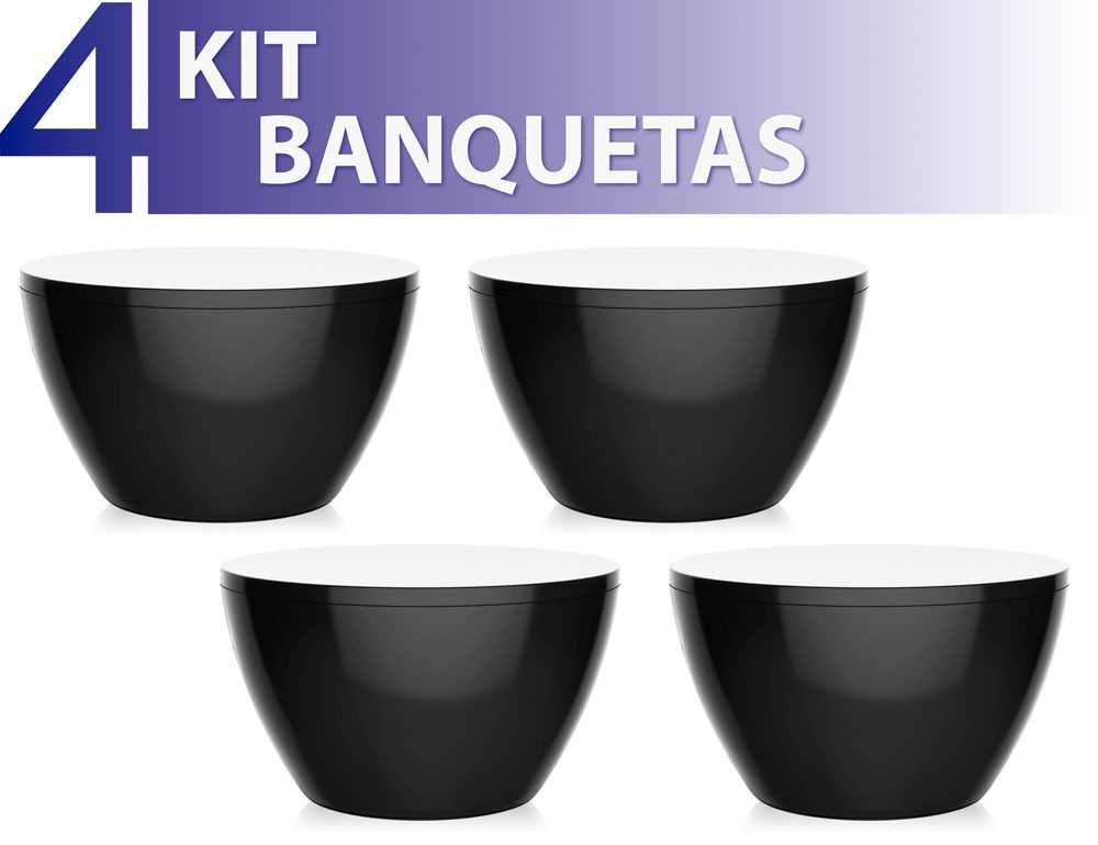 Kit 4 Bancos Oxy colorida preto