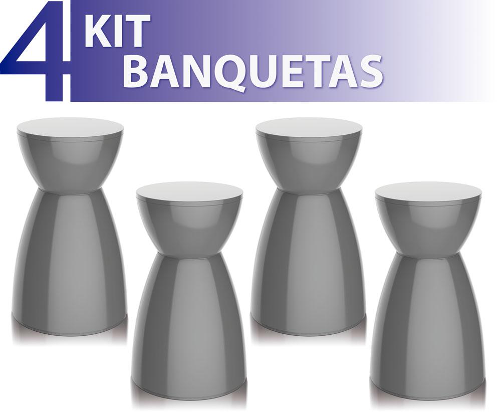 KIT 4 BANQUETAS RAD COLOR CINZA