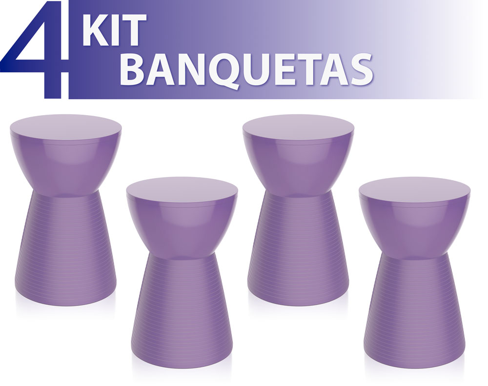 KIT 4 BANQUETAS SILI COLOR ROXO