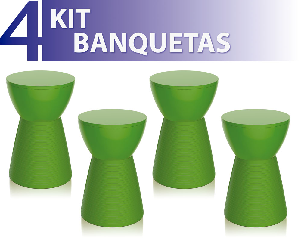 KIT 4 BANQUETAS SILI COLOR VERDE