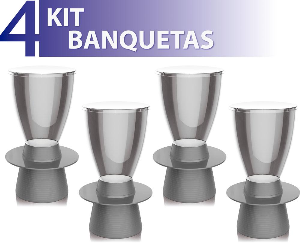 KIT 4 BANQUETAS TIN ASSENTO CRISTAL BASE COLOR CINZA