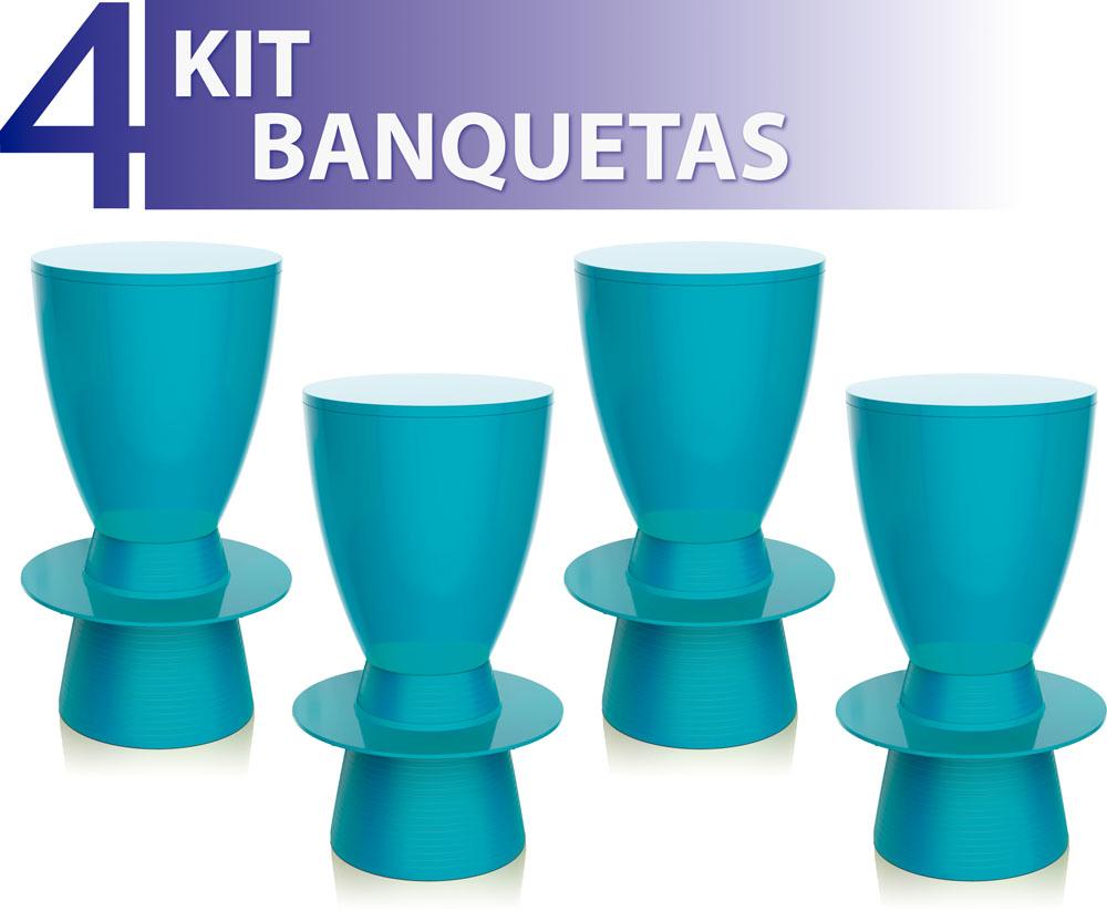 KIT 4 BANQUETAS TIN COLOR AZUL