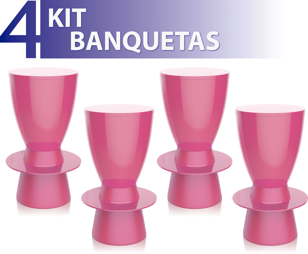 KIT 4 BANQUETAS TIN COLOR ROSA