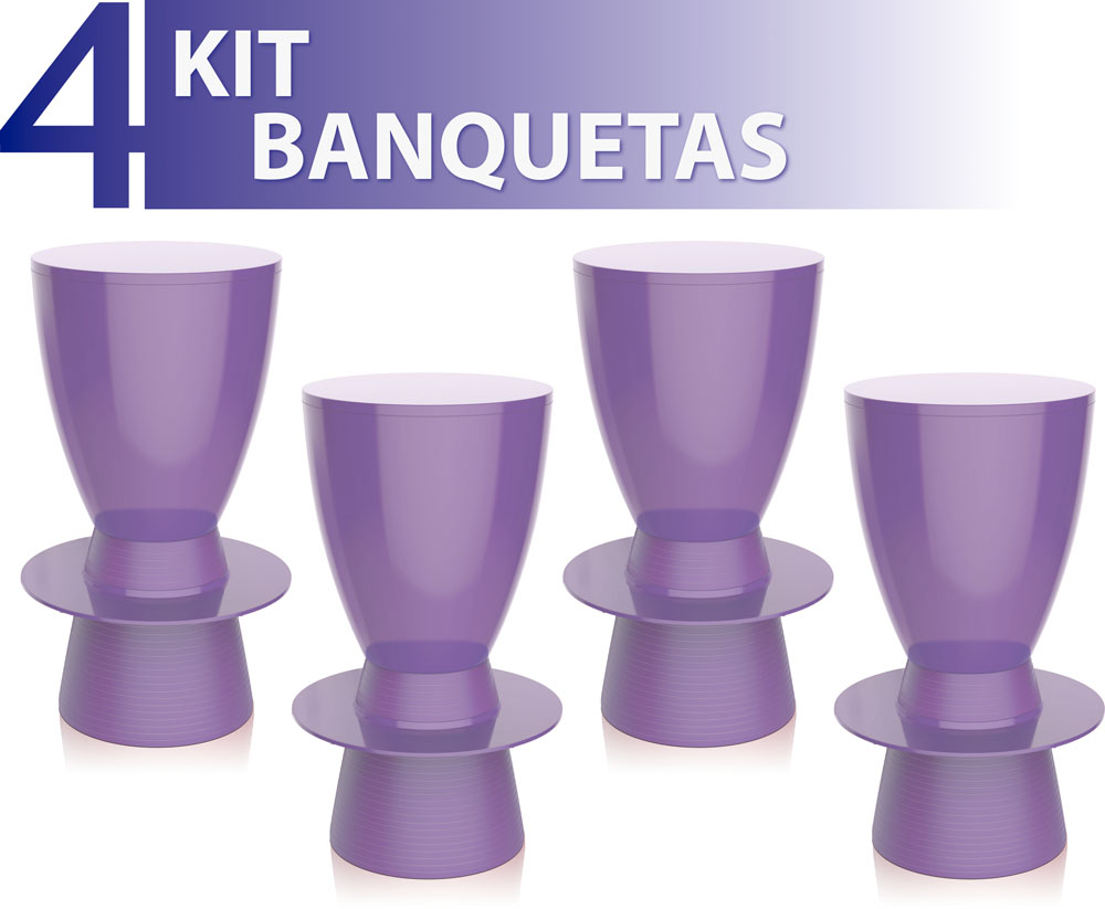 KIT 4 BANQUETAS TIN COLOR ROXO