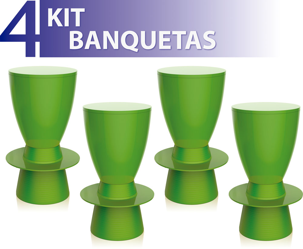 KIT 4 BANQUETAS TIN COLOR VERDE