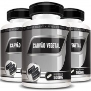 Carvão Vegetal 500mg - 100% Puro - 03 Potes com 60 cápsulas