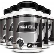 Carvão Vegetal 500mg - 100% Puro - 05 Potes com 60 cápsulas