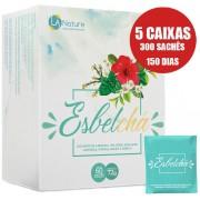 Esbelchá Original Chá 7 Ervas Naturais 300 Sachês Emagrecedor - 5 Caixas