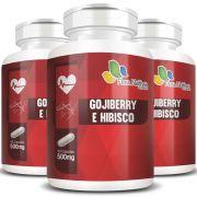 Goji Berry e Hibisco 500mg - Fórmula Potencializada - 03 Potes
