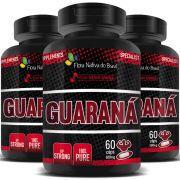 Guaraná 100% Puro - 500mg - 03 Potes (180 cápsulas)