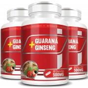 Guaraná + Ginseng 500mg - 3 Potes com 60 cápsulas