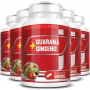 Guaraná + Ginseng 500mg - 5 Potes com 60 cápsulas