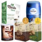Kit Marita - 1 Café 3.0 + 1 Marita Life (Bala Mediterrânea) + 3 Cookies Cacau + 3 Cookies Pera + Adoçante Marita Stévia