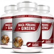 Maca Peruana + Ginseng 500mg - 03 Potes com 100 cápsulas