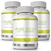 Pure Coco - Original - Óleo Coco Extra Virgem 100% - Emagrecedor - 03 Potes