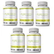 Pure Coco - Original - Óleo Coco Extra Virgem 100% - Emagrecedor - 05 Potes