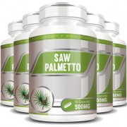 Saw Palmetto 500mg - 100% Puro - 05 Potes com 60 cápsulas