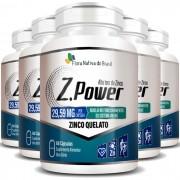 Z.Power Original Alto Teor de Zinco Quelato 29,59mg - 5 Potes