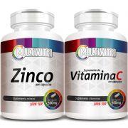 Zinco - 60 cáps. 500mg + Vitamina C - 60 cáps. 500mg (Aumentar Imunidade)